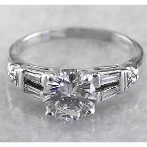 2 Carats Round Diamond Engagement Ring White Gold